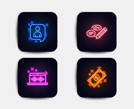 Neon set of Developers chat, Music making and Keywords icons. Payment sign. Manager talk, Dj app, Pencil with key. Finance. Neon icons. Glowing light banners. Vector