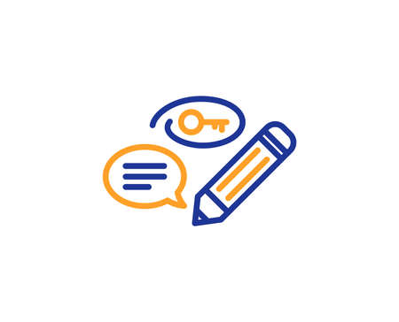 Keywords line icon. Pencil with key symbol. Marketing strategy sign. Colorful outline concept. Blue and orange thin line color icon. Keywords Vector