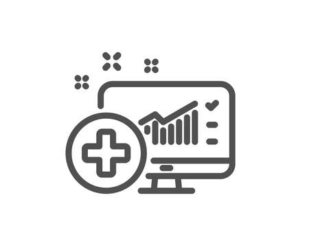 Medical analytics line icon. Hospital statistics sign. Quality design flat app element. Editable stroke Medical analytics icon. Vector Illustration