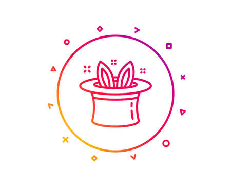 Hat-trick line icon. Magic tricks with hat and rabbit sign. Illusionist show symbol. Gradient pattern line button. Hat-trick icon design. Geometric shapes. Vector