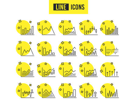 Financial charts line icons. Set of Candle stick graph, Report and Infochart signs. Growth graph, Trade and Investment. Stock exchange, Candlestick and Diagrams. Quality design icons. Charts vector