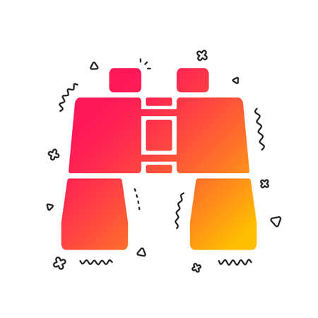 Binocular sign icon. Search symbol. Find information. Colorful geometric shapes. Gradient binocular icon design.  Vector