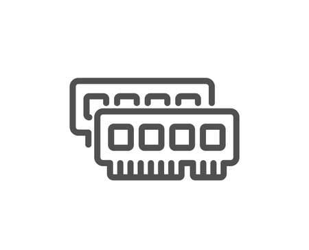 Ram line icon. Computer random-access memory component sign. Quality design flat app element. Editable stroke Ram icon. Vector Illustration