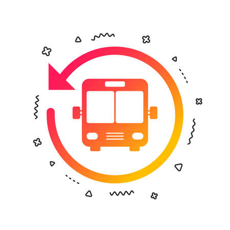 Bus shuttle icon. Public transport stop symbol. Colorful geometric shapes. Gradient bus shuttle icon design.  Vector