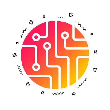 Circuit board sign icon. Technology scheme circle symbol. Colorful geometric shapes. Gradient circuit board icon design. Vector Vektorové ilustrace