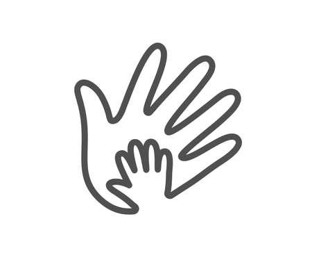 Lijn handpictogram. Sociale verantwoordelijkheid teken. Eerlijkheid, samenwerkingssymbool. Kwaliteitsontwerp plat app-element. Bewerkbare beroerte Pictogram voor sociale verantwoordelijkheid. Vector