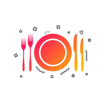 Plate dish with forks and knifes. Eat sign icon. Cutlery etiquette rules symbol. Colorful geometric shapes. Gradient cutlery icon design.  Vector