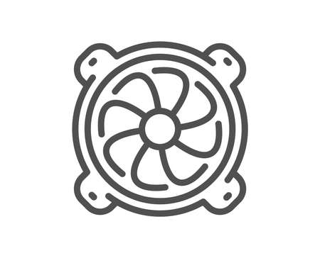 Computer cooler line icon. PC fan component sign. Quality design flat app element. Editable stroke Computer fan icon. Vector  イラスト・ベクター素材