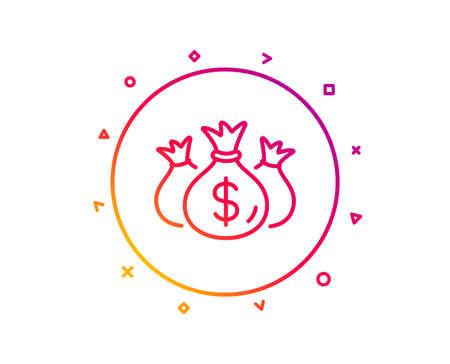 Check investment line icon. Business audit sign. Cash bags symbol. Gradient pattern line button. Check investment icon design. Geometric shapes. Vector Illustration