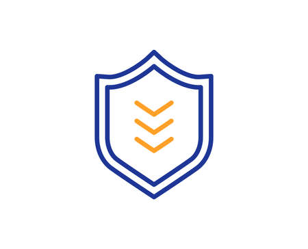 Shield line icon. Protection symbol. Business security sign. Colorful outline concept. Blue and orange thin line color icon. Shield Vector