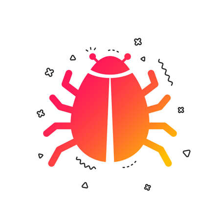 Bug sign icon. Virus symbol. Software bug error. Disinfection. Colorful geometric shapes. Gradient bug icon design.  Vector