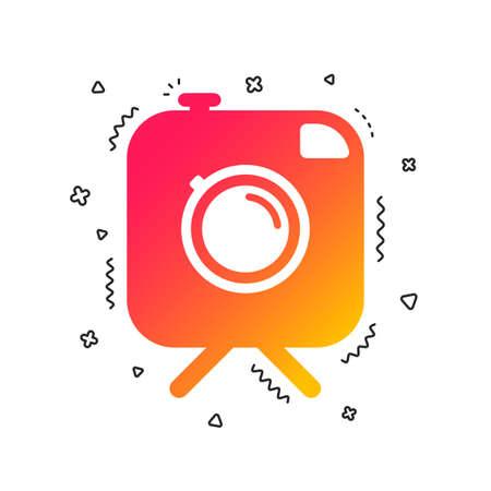 Hipster photo camera sign icon. Retro camera on tripod symbol. Colorful geometric shapes. Gradient photo camera icon design.  Vector