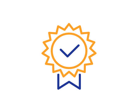 Certificate line icon. Verified award sign. Accepted or confirmed symbol. Colorful outline concept. Blue and orange thin line color icon. Certificate Vector Ilustração