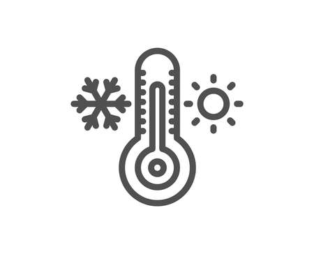 Thermometer line icon. Cold and warm thermostat sign. Winter, summer symbol. Snowflake and sun. Quality design flat app element. Editable stroke Thermometer icon. Vector