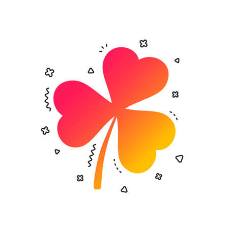 Clover with three leaves sign icon. Trifoliate clover. Saint Patrick trefoil symbol. Colorful geometric shapes. Gradient clover icon design.  Vector Illustration