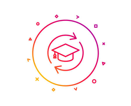 Continuing education line icon. Online education sign. Gradient pattern line button. Continuing education icon design. Geometric shapes. Vector 일러스트