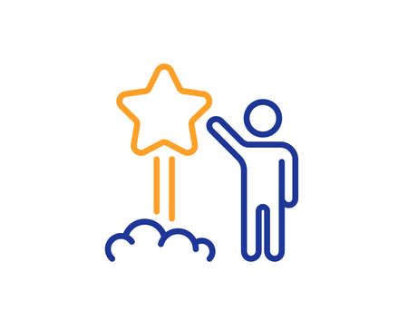 Launch star line icon. Feedback rating sign. Customer satisfaction symbol. Colorful outline concept. Blue and orange thin line color Star icon. Vector