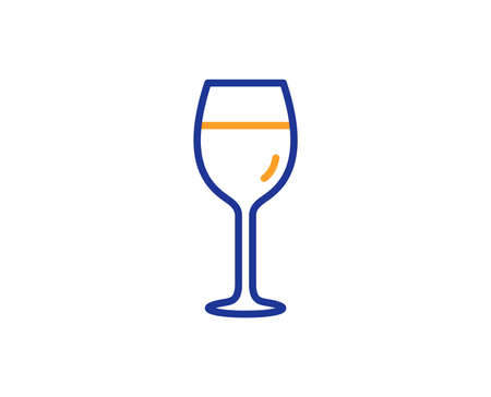 Wine glass line icon. Bordeaux glass sign. Colorful outline concept. Blue and orange thin line color icon. Wine glass Vector Illustration
