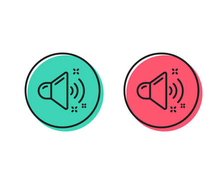 Loud sound line icon. Music sound sign. Musical device symbol. Positive and negative circle buttons concept. Good or bad symbols. Loud sound Vector Standard-Bild - 112887527