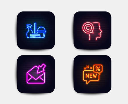 Neon set of Open mail, Writer and Household service icons. New sign. View e-mail, Copyrighter, Cleaning equipment. Discount. Neon icons. Glowing light banners. Vector