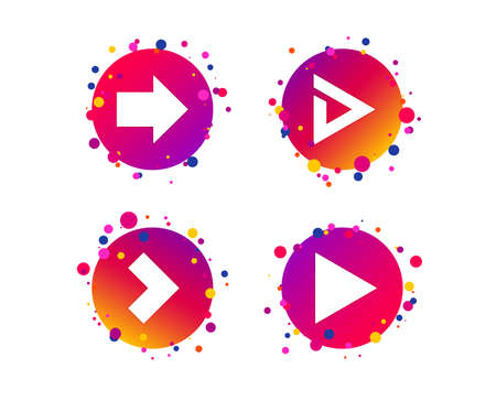 Arrow icons. Next navigation arrowhead signs. Direction symbols. Gradient circle buttons with icons. Random dots design. Vector