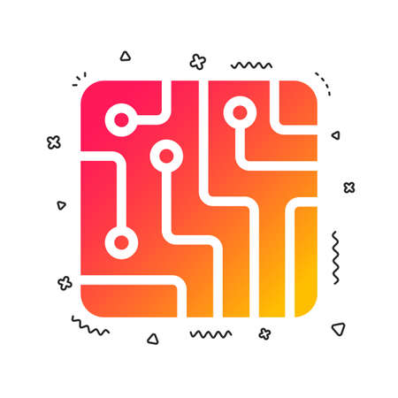 Circuit board sign icon. Technology scheme square symbol. Colorful geometric shapes. Gradient technology icon design. Vector