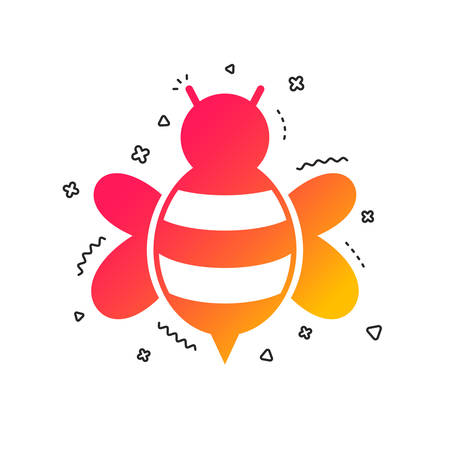 Bee sign icon. Honeybee or apis with wings symbol. Flying insect. Colorful geometric shapes. Gradient bee icon design.  Vector