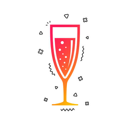 Glass of champagne sign icon. Sparkling wine with bubbles. Celebration or banquet alcohol drink symbol. Colorful geometric shapes. Gradient champagne icon design.  Vector
