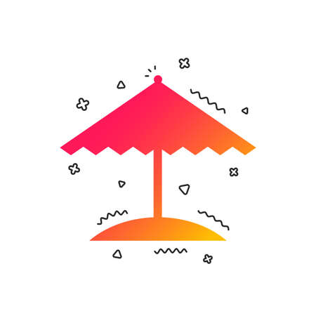 Beach umbrella sign icon. Protection from the sun. Colorful geometric shapes. Gradient umbrella icon design.  Vector 向量圖像
