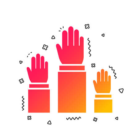 Election or voting sign icon. Hands raised up symbol. People referendum. Colorful geometric shapes. Gradient elections icon design.  Vector