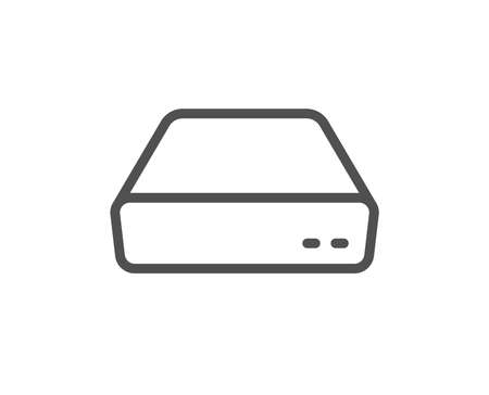 Mini pc line icon. Small computer device sign. Quality design flat app element. Editable stroke Mini pc icon. Vector