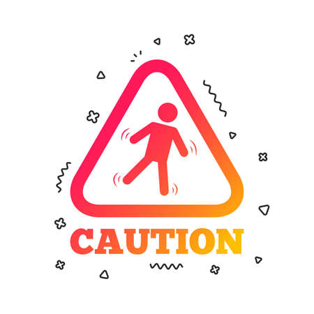 Caution wet floor sign icon. Human falling triangle symbol. Colorful geometric shapes. Gradient slippery icon design.  Vector Stok Fotoğraf - 112670132