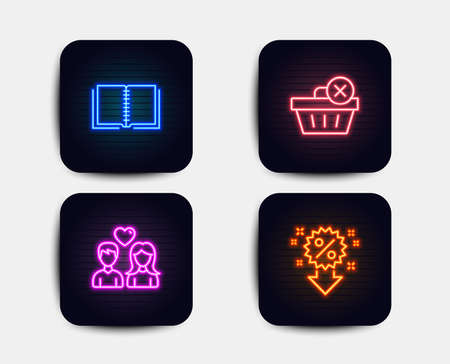 Neon set of Delete purchase, Book and Couple love icons. Discount sign. Remove from basket, E-learning course, People in love. Sale shopping. Neon icons. Glowing light banners. Vector