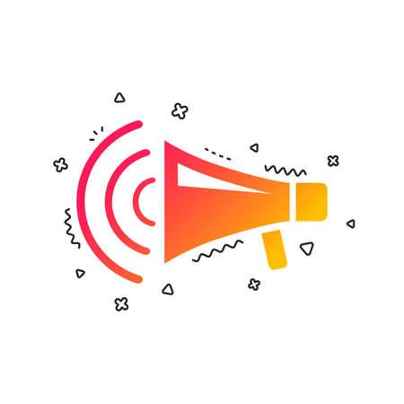 Megaphone sign icon. Loudspeaker strike symbol. Colorful geometric shapes. Gradient megaphone icon design.  Vector