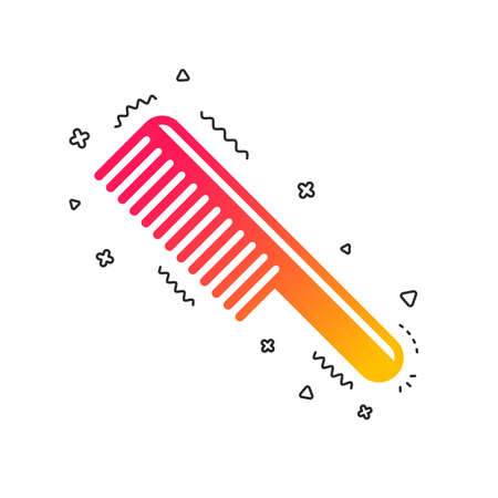 Comb hair sign icon. Barber symbol. Colorful geometric shapes. Gradient comb icon design.  Vector Illustration