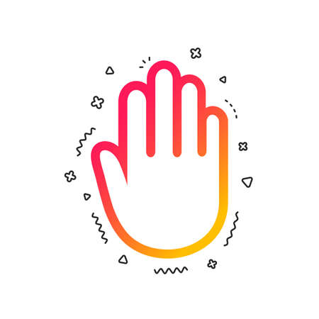 Hand sign icon. No Entry or stop symbol. Give me five. Colorful geometric shapes. Gradient hand icon design.  Vector