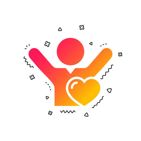 Fans love icon. Man raised hands up sign. Colorful geometric shapes. Gradient like icon design. Vector