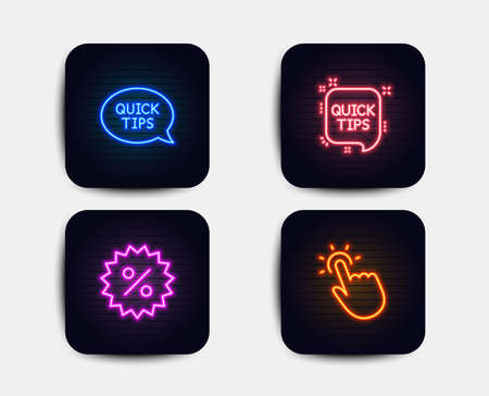 Neon set of Quick tips, Discount and Quickstart guide icons. Touchpoint sign. Helpful tricks, Special offer, Touch technology. Neon icons. Glowing light banners. Vector
