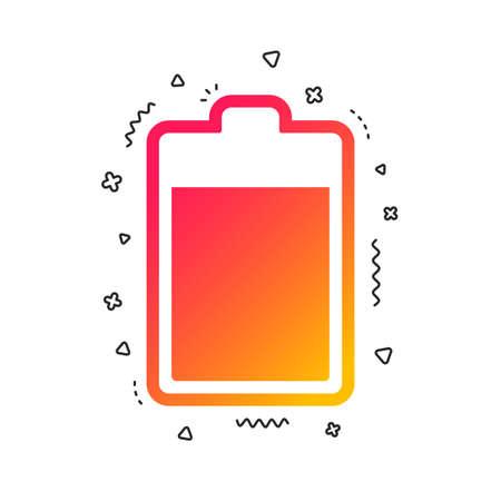 Ikona znak poziomu baterii. Symbol energii elektrycznej. Kolorowe kształty geometryczne. Gradientowy projekt ikony baterii. Wektor