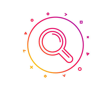 Research line icon. Magnifying glass symbol. Magnifier sign. Gradient pattern line button. Research icon design. Geometric shapes. Vector