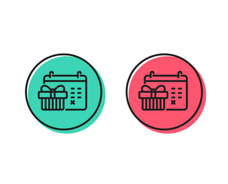 Christmas calendar line icon. New year presents day sign. Surprise symbol. Positive and negative circle buttons concept. Good or bad symbols. Christmas calendar Vector Archivio Fotografico - 112887550