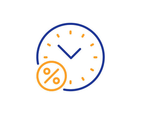 Loan time percent line icon. Discount sign. Credit percentage symbol. Colorful outline concept. Blue and orange thin line color Loan percent icon. Vector