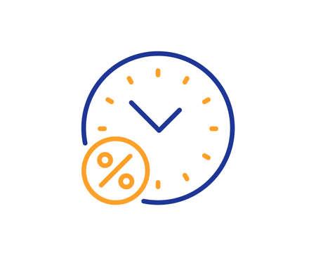 Symbol für die Prozentlinie der Ausleihzeit. Rabattzeichen. Symbol für Kreditprozentsatz. Buntes Umrisskonzept. Blaue und orangefarbene dünne Linienfarbe Kreditprozentsymbol. Vektor Vektorgrafik