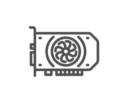 Gpu graphic card line icon. Computer component hardware sign. Quality design flat app element. Editable stroke Gpu icon. Vector