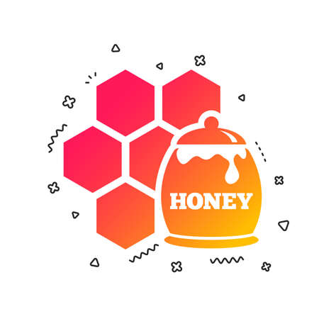 Honey in pot and honeycomb sign icon. Honey cells symbol. Sweet natural food. Colorful geometric shapes. Gradient honey icon design.  Vector  イラスト・ベクター素材