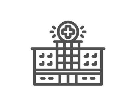 Hospital building line icon. Medical help sign. Quality design flat app element. Editable stroke Hospital building icon. Vector