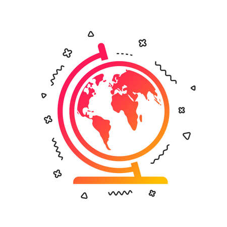 Globe sign icon. World map geography symbol. Globe on stand for studying. Colorful geometric shapes. Gradient globe icon design.  Vector Illustration