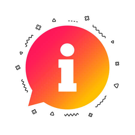 Hinweisschild-Symbol. Info-Sprechblase-Symbol. Bunte geometrische Formen. Farbverlauf-Informationen-Icon-Design. Vektor
