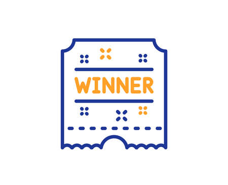 Winner ticket line icon. Amusement park award sign. Colorful outline concept. Blue and orange thin line color icon. Winner ticket Vector