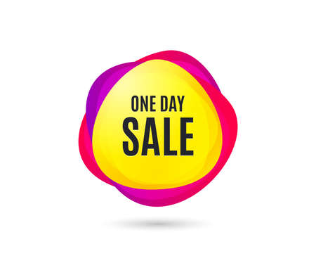 One day Sale. Special offer price sign. Advertising Discounts symbol. Gradient sales tag. Abstract shopping banner. Template for design. One day sale vector